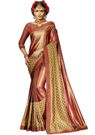 dbde11582 Shangrila Designer Shimmer Net Embroidery Satin Silk Saree with Brocade  Lace Unstitched Blouse Piece (Brown, MARVEL2-8334): Amazon.in: Clothing &  ...