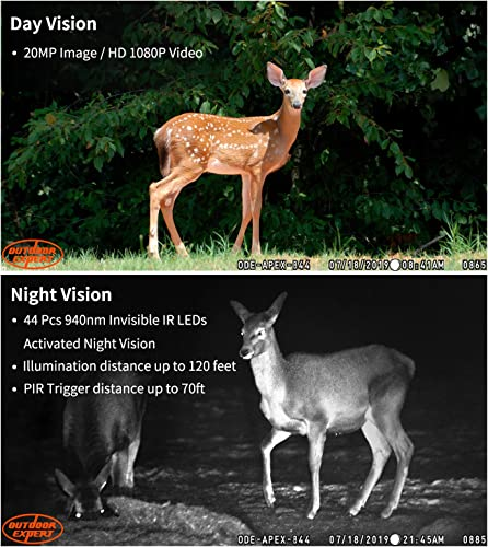 OUTDOOR EXPERT Trail Camera 20MP 1080P Hunting Camera with 44 pcs 940nm IR LEDs, Activated Night Vision 70ft PIR Distance Digital Game Cam with LCD Display for Wildlife Scouting and Home Security