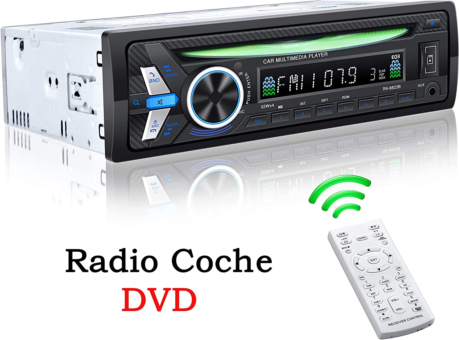 TOYOUSONIC Radio Coche CD 1 DIN Reproductor de DVD MP4 Bluetooth Admite Llamadas Manos Libres/Control Remoto/Radio FM/AUX IN/USB/TF