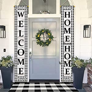 DUDOU Welcome Home Sweet Home Porch Sign Black White Buffalo Plaid Check Hanging Door Banner Farmhouse Outdoor Holiday Decoration