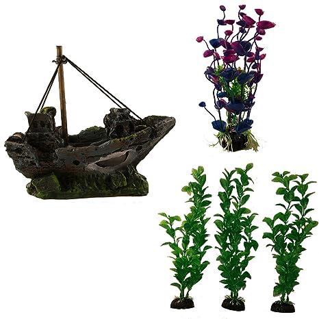 Adornos para acuario y acuario con plantas de acuario, ideal para peces, acuarios y