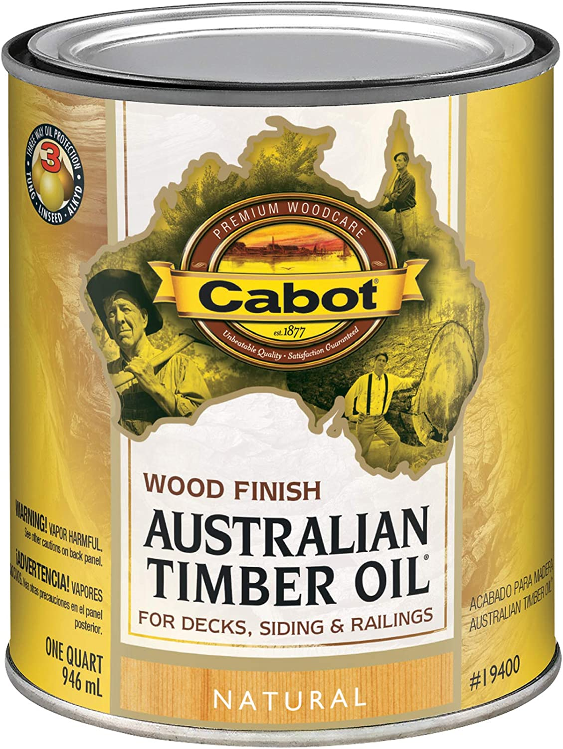 Cabot 140.0019400.005 Australian Timber Oil Water Reducible Stain, Quart, Low Voc Natural