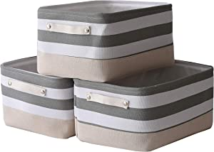 Locipe Large Fabric Basket, Storage Basket for Shelf Organizing, Home Decor, Nursery Home Closet Collapsible Storage Bin with Cotton Cloth Handles 3-Pack (Gray & White Stripes, 15.7x11.8x8.3 inches)