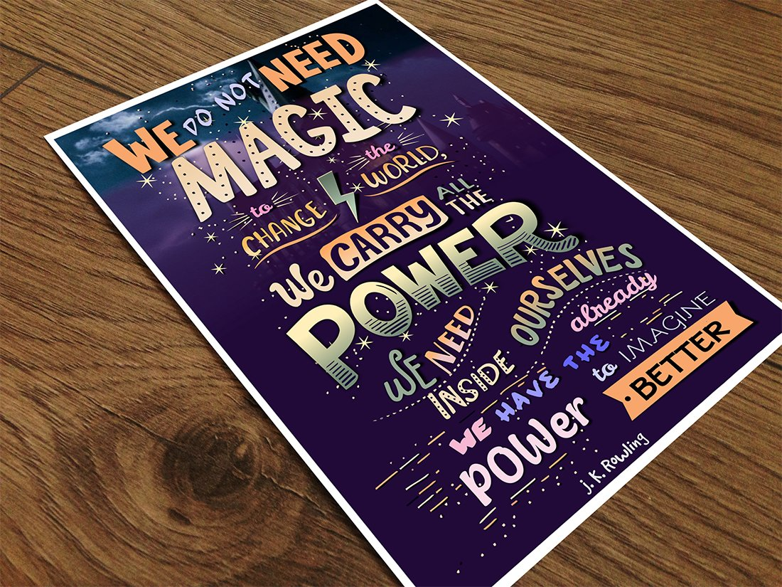 1c8ad6fdec Alter Ego 300 GSM Paper JK Rowling Quote Typographic Poster