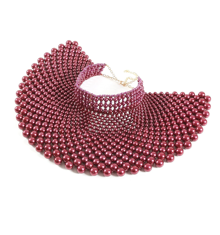 Fine Fashion Handmade Beaded Bib Egyptian Pearl Necklace Collar Women Dress Statement Choker Accessories ZZ6500