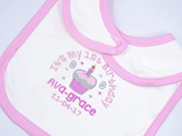 Personalised Embroidered GIRLS MY FIRST BIRTHDAY CUPCAKE ADD NAME baby clothing