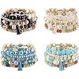 CASSIECA 4 Sets Bohemian Stackable Bead Bracelets for Women Multilayer Stretch Beaded Bracelets Set Multicolor Boho Bracelets