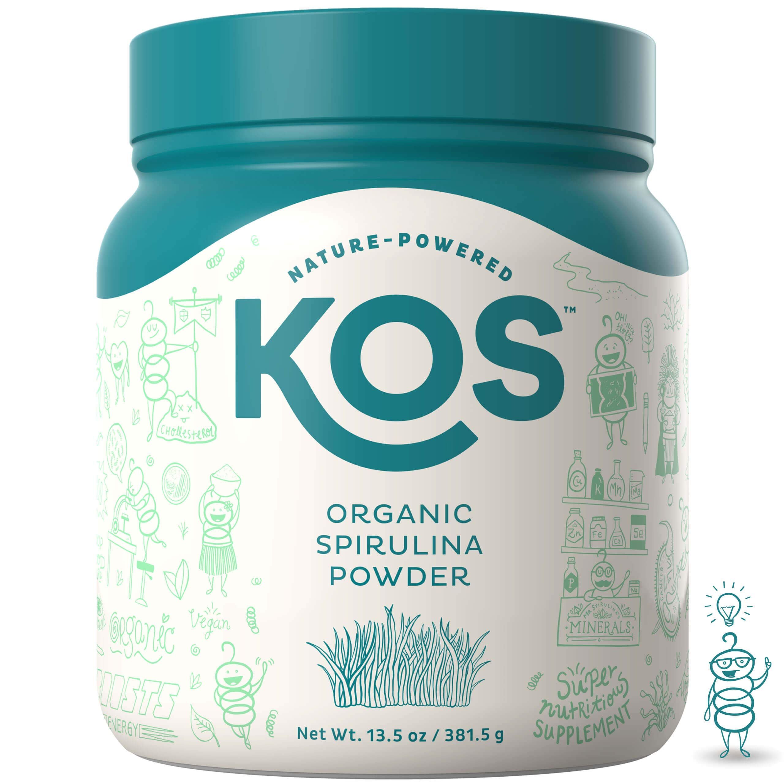 KOS Organic Spirulina Powder | Pure Non-Irradiated Blue Hawaiin Spirulina Powder | USDA Organic Immunity Enhancing Plant Based Superfood, 381g, 109 Servings