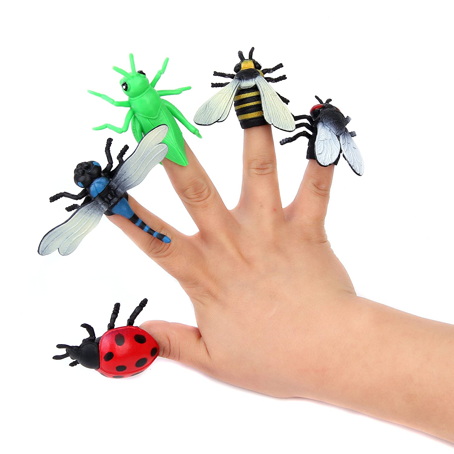 Fun Central AZ922 12 Pieces Assorted Insect Finger Puppets for Kids, Plastic Insects and Bugs Toys, Finger Puppets Set