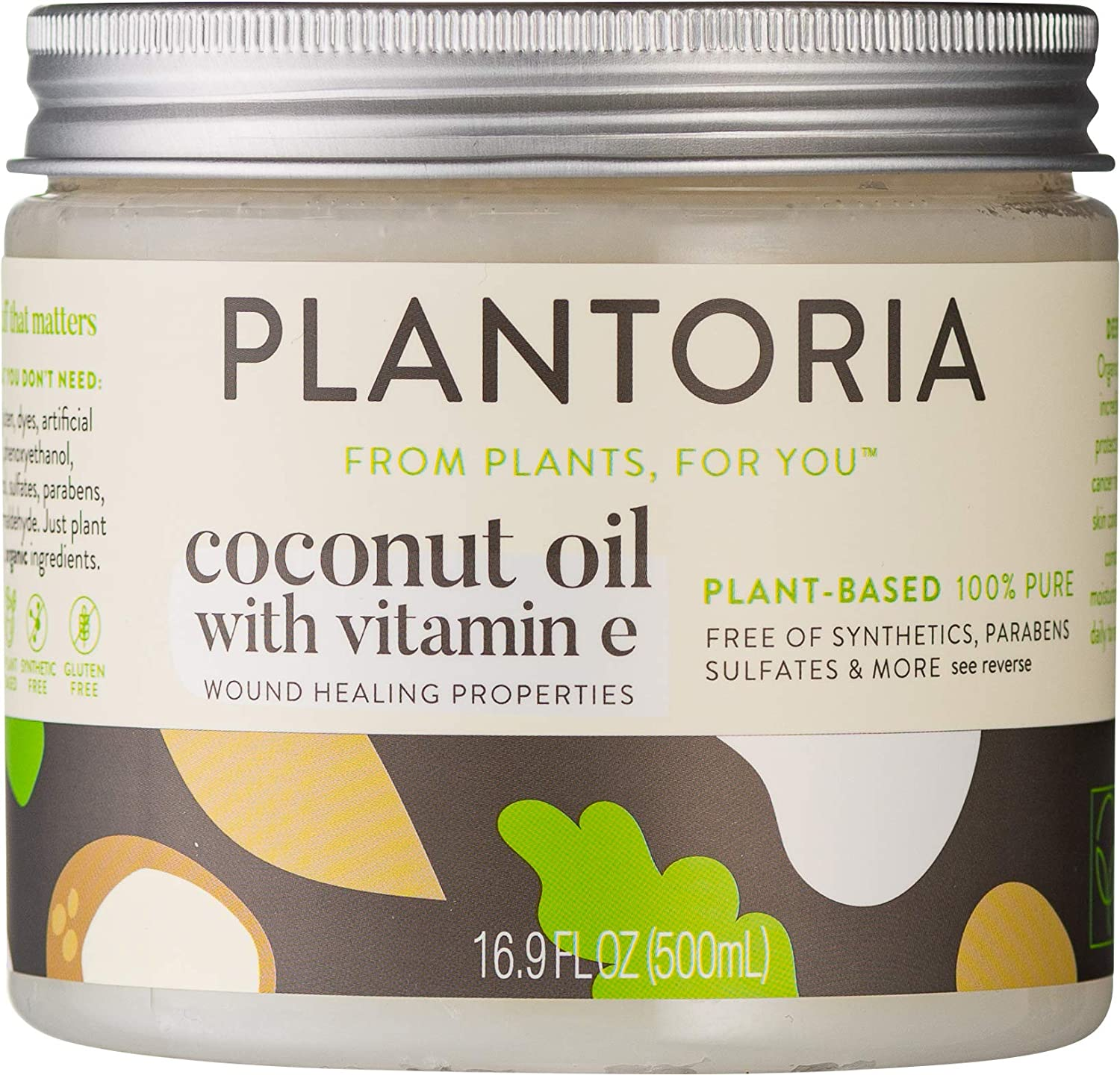 Plantoria Plant Based Organic Coconut Oil With Vitamin E | Nourishing Hydrating Pure Natural Vegan Coconut Oil For Skin | Moisturize Skin, Heal Wounds & Battle Pesky Skin Issues With Coconut Oil Cream