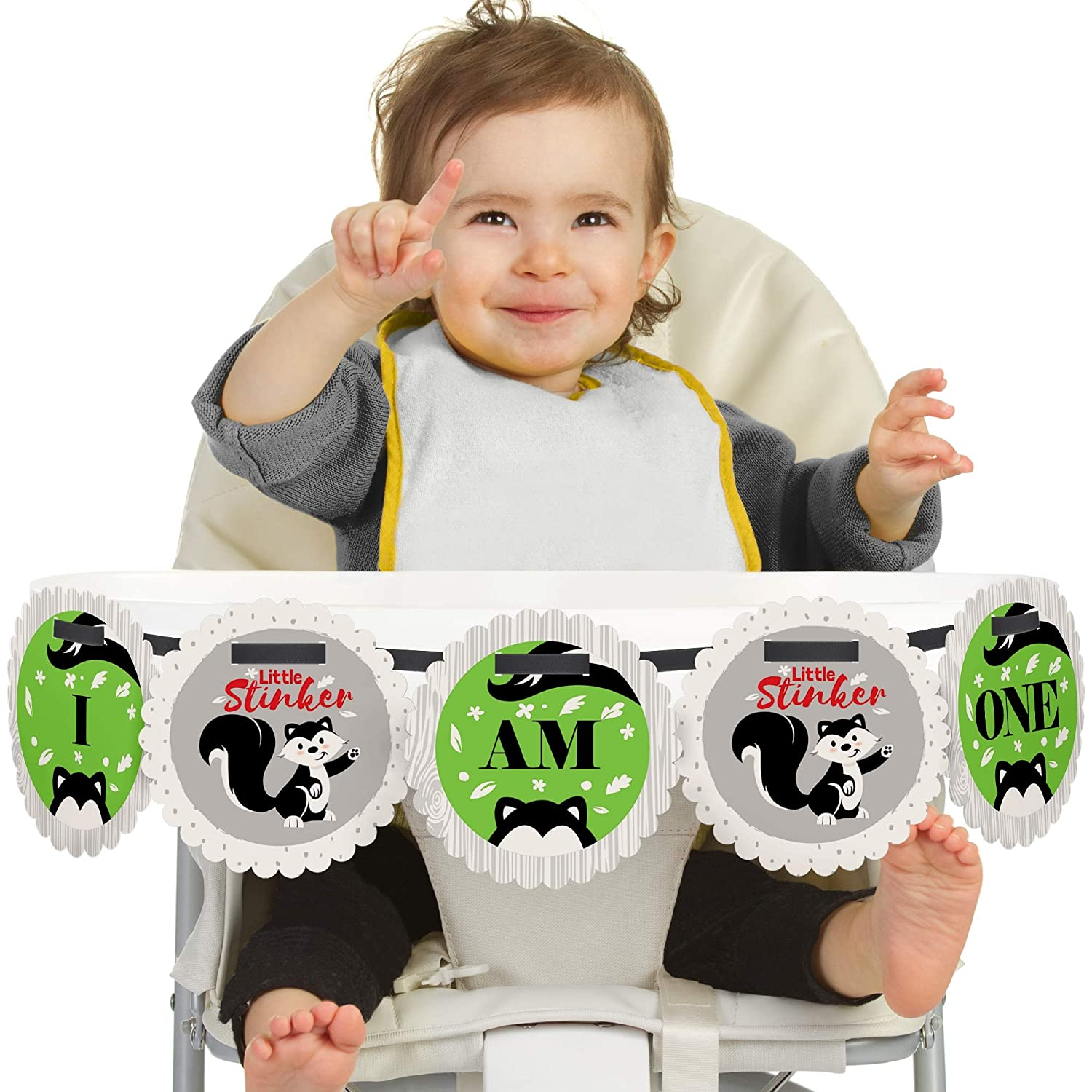 Big Dot of Happiness Little Stinker 1st Birthday - I Am One - First Birthday High Chair Banner