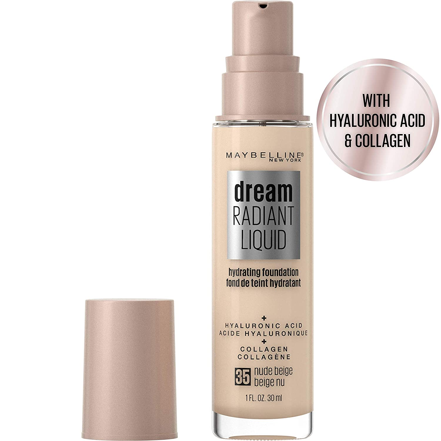 Maybelline Dream Radiant Liquid Medium Coverage Hydrating Makeup, Lightweight Liquid Foundation, Nude Beige, 1 Fl. Oz