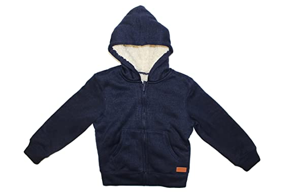 0a63ced5fd8e9 Weatherproof Vintage Boy's Full Zip Sherpa Lined Hooded Jacket (Indigo  Heather, Small (7