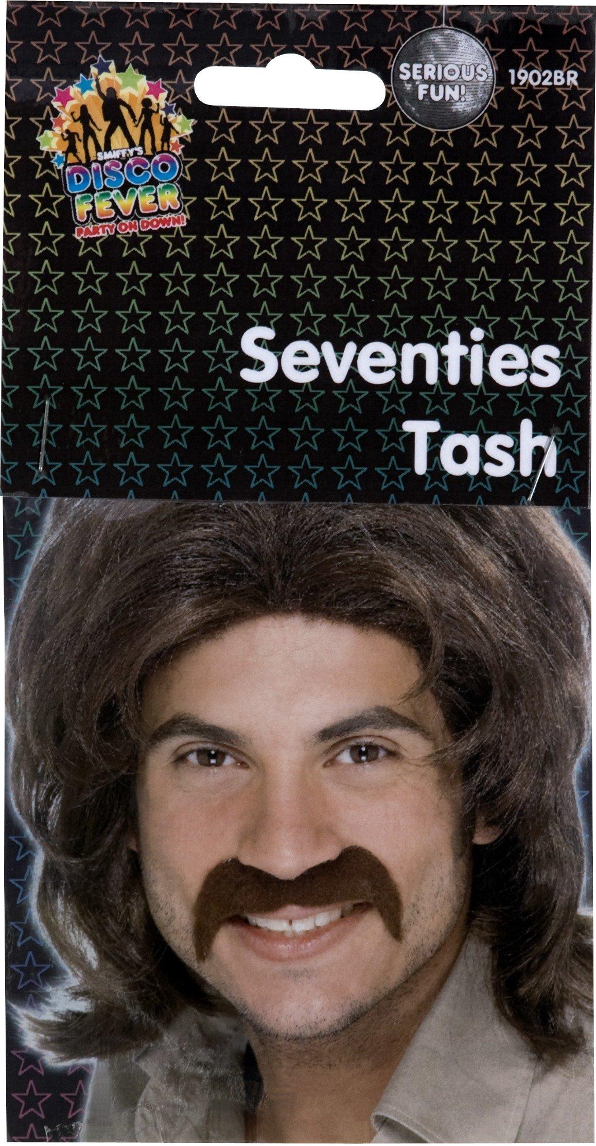 Brown Men's Self Adhesive 70's Moustache