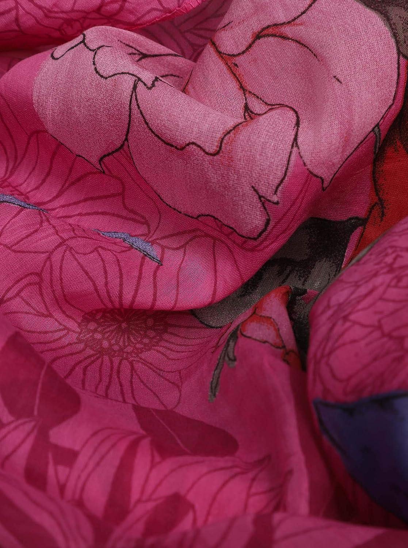 Eleganter Sommer-schal f/ür Frauen Zwillingsherz Seiden-Loop f/ür Damen mit Blumen Muster Hochwertiges Seidentuch//Seidenschal Made in Italy Halstuch und Chiffon-Stola Schlauchschal