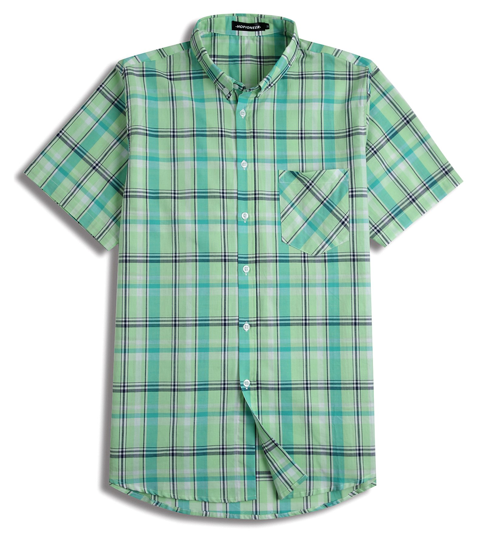 Hopioneer Men's Relaxed Fit Plaid Short Sleeve Button Down Shirt Cotton Button Up Casual Summer Woven Shirt (XX-Large, Green)