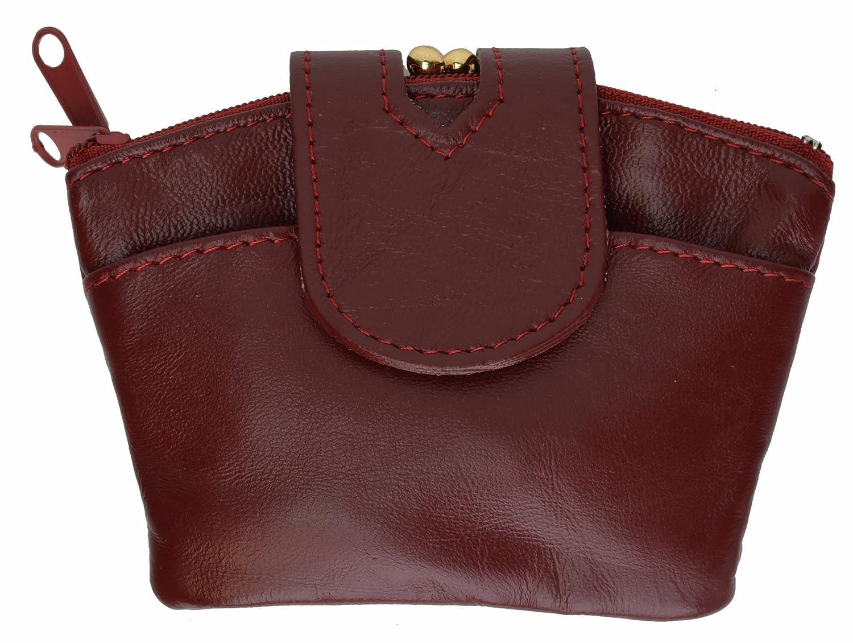 100% Leather Triple Change Purse Burgundy #92805