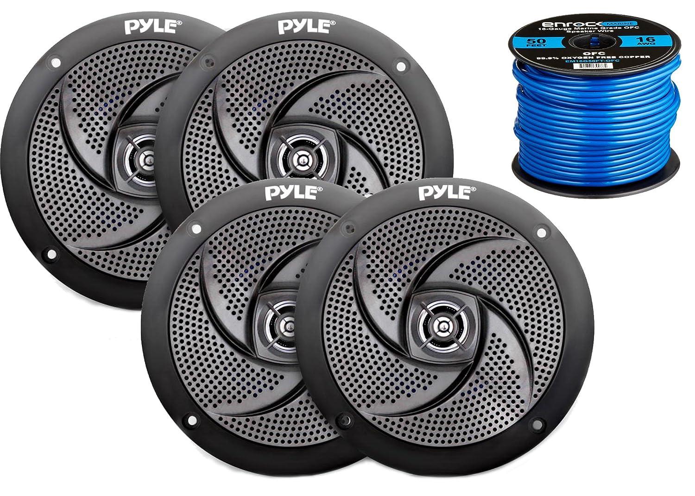 "Amazon.com: 4X Pyle Marine 5.25"" 2-Way Low Profile Slim Style Waterproof  Black Speakers, 16-Gauge 50 Foot Tinned Speaker Wire: Electronics"
