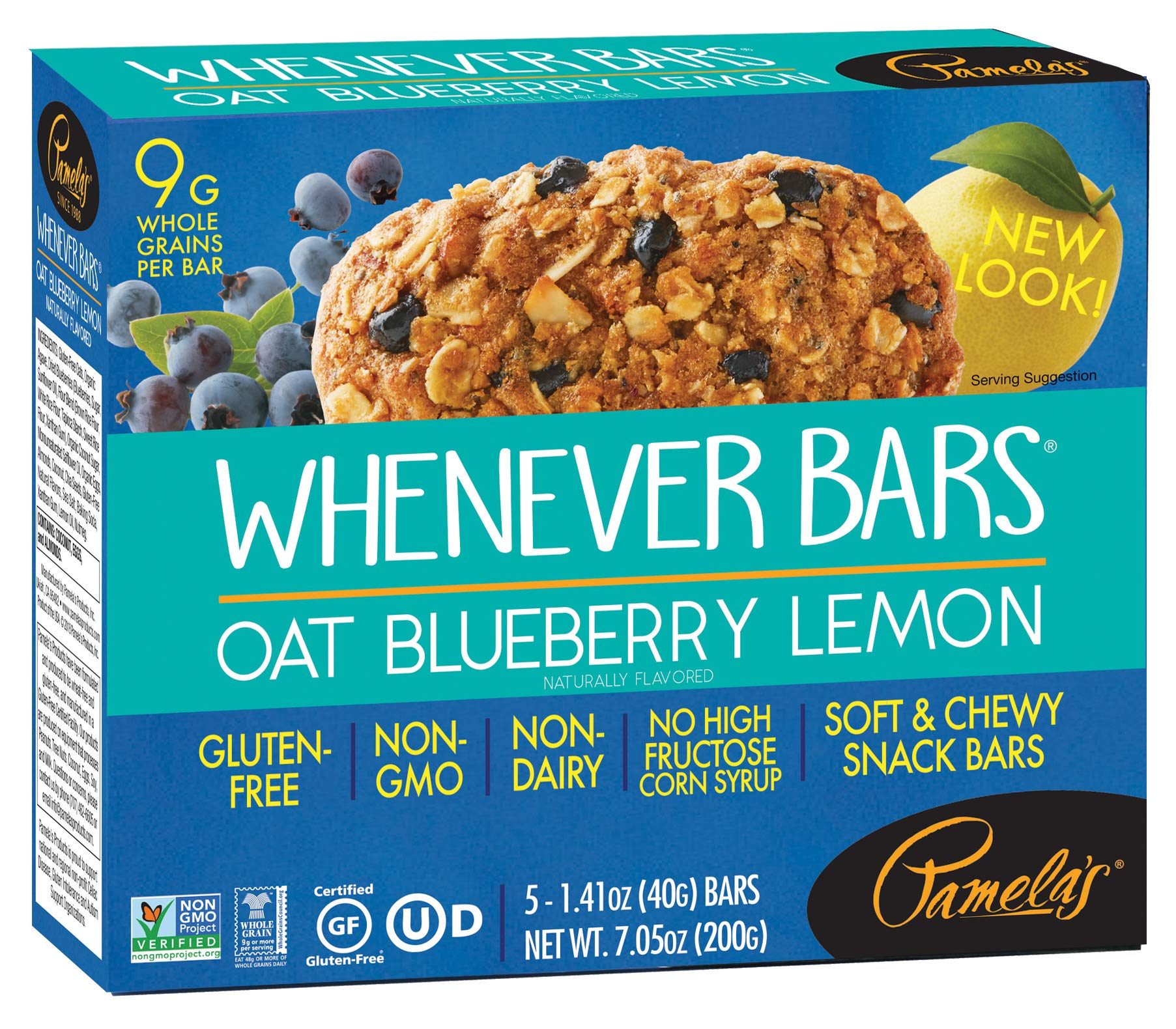 Pamela's Products Gluten Free  Whenever Bars, Blueberry Lemon, 5 Count Box, 7.05-Ounce (Pack of 6) by Pamela's Products