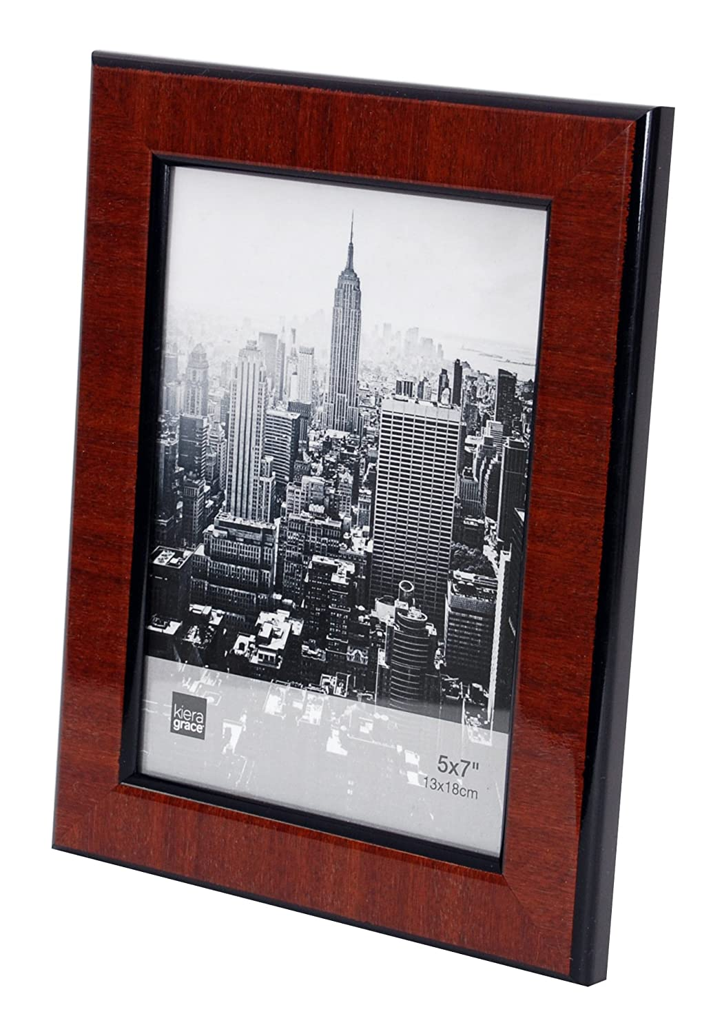 Walnut Wood Grain with Black Trim AZ Home and Gifts PH44025-9 5 by 7 Inch Kiera Grace Abby Picture Frame