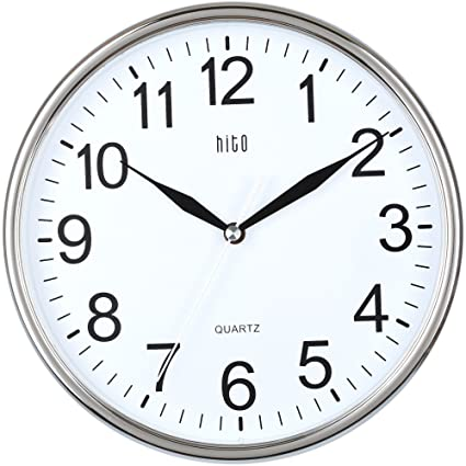 Hito Silent Wall Clock Non Ticking 10 Inch Excellent Accurate Sweep  Movement Glass Cover, Modern