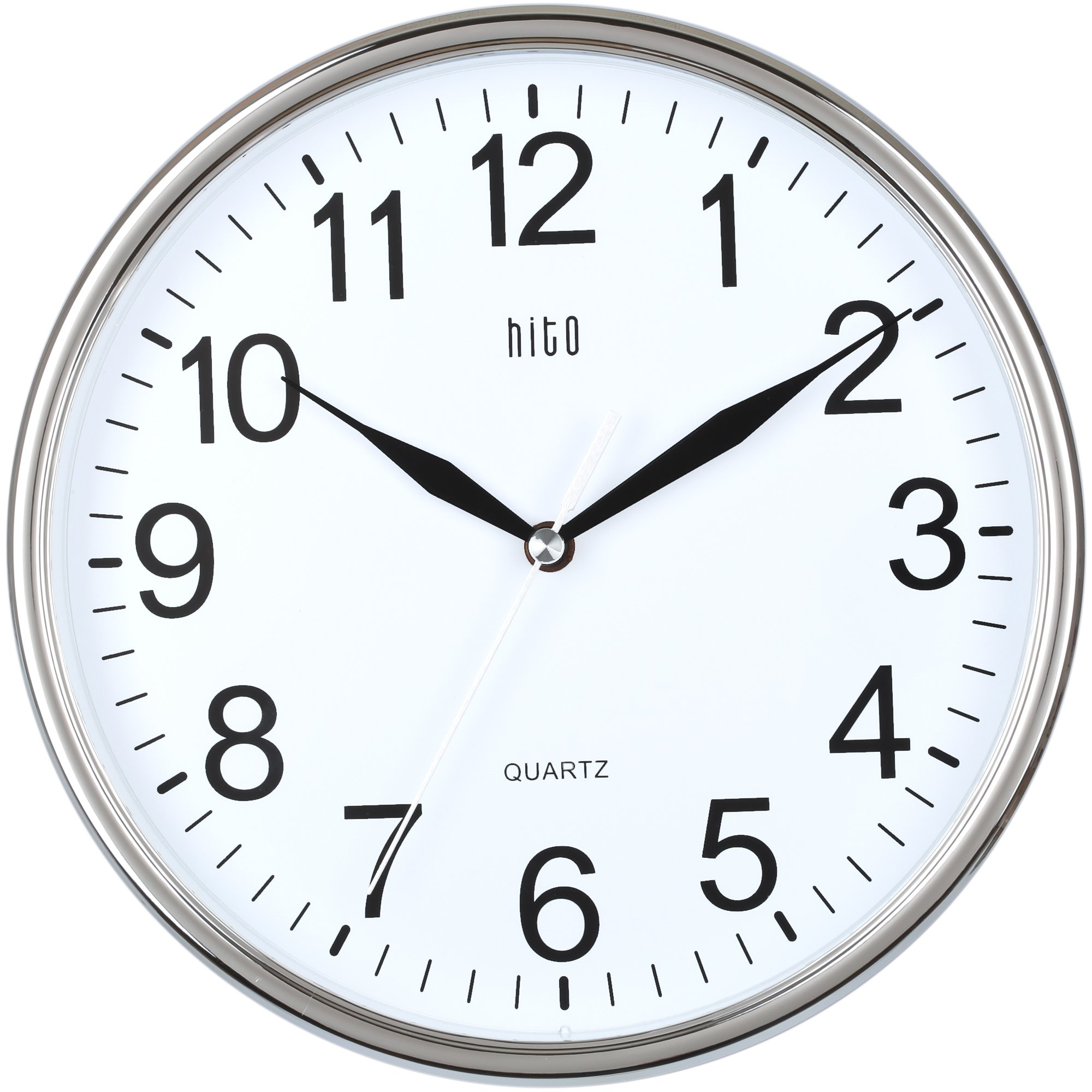 hito silent wall clock non ticking 10 inch excellent accurate sweep movement glass cover modern - Kitchen Wall Clocks
