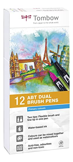 Set De 12 Rotuladores Dual Brush Colores Primarios Tombow