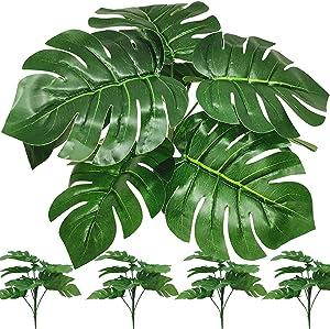 FagusHome 4 Bunches Artificial Tropical Palm Leaves Faux Turtle Leaf Artificial Plants Fake Monstera Tree Plant for Décor (4Pcs)