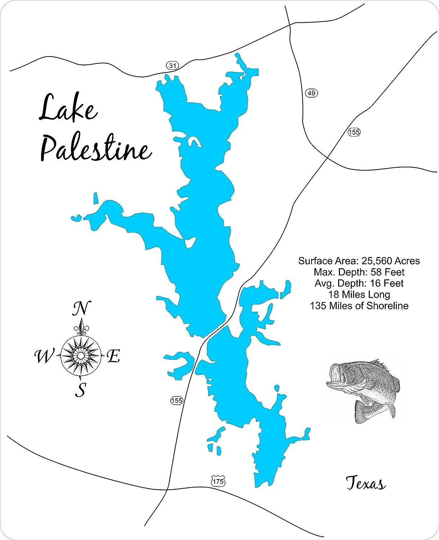Lake Palestine Map Amazon.com: Lake Palestine, Texas: Framed Wood Map Wall Hanging