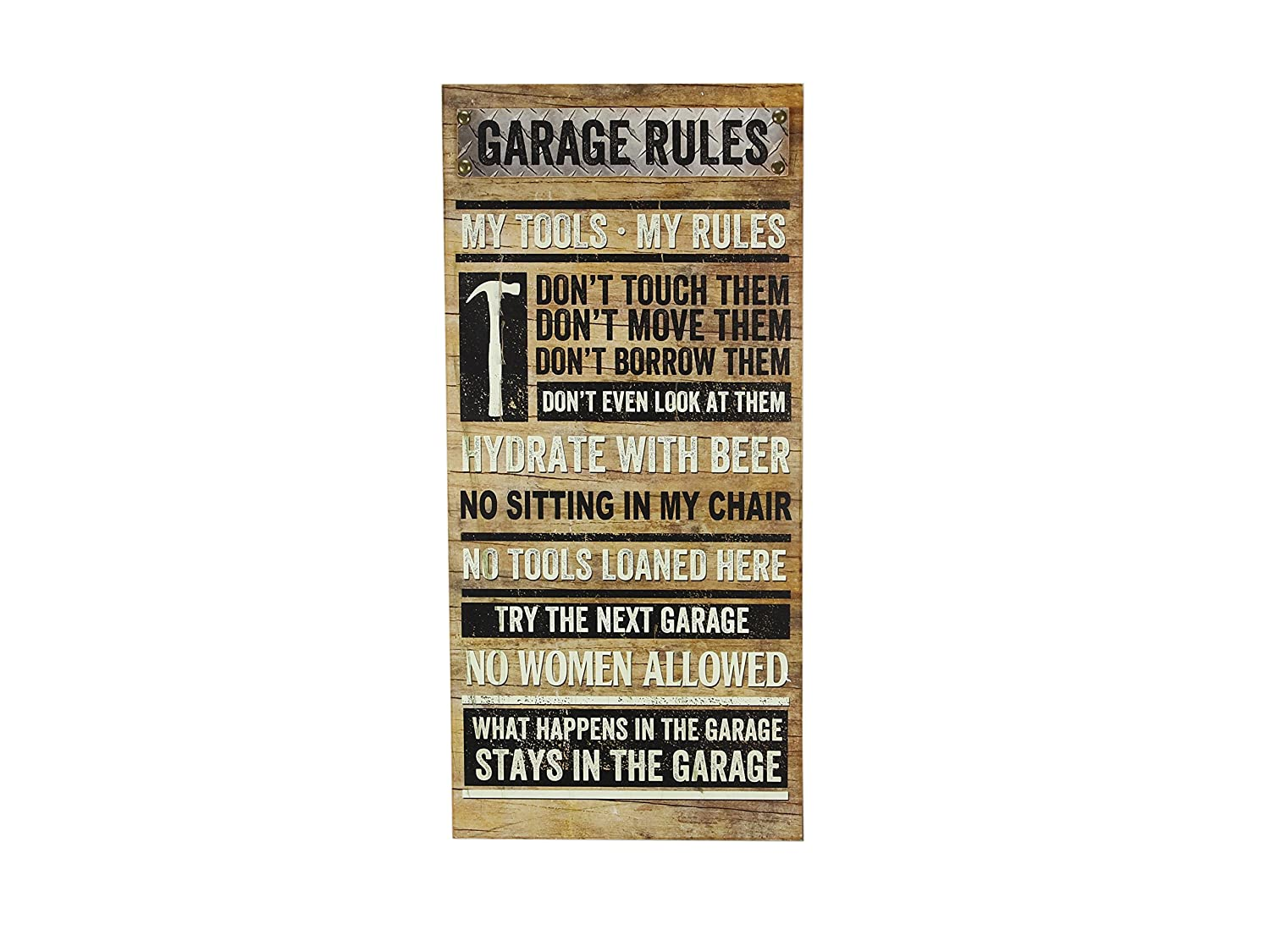 Youngs Inc Wood Garage Rules Wall Sign 19.25-Inch