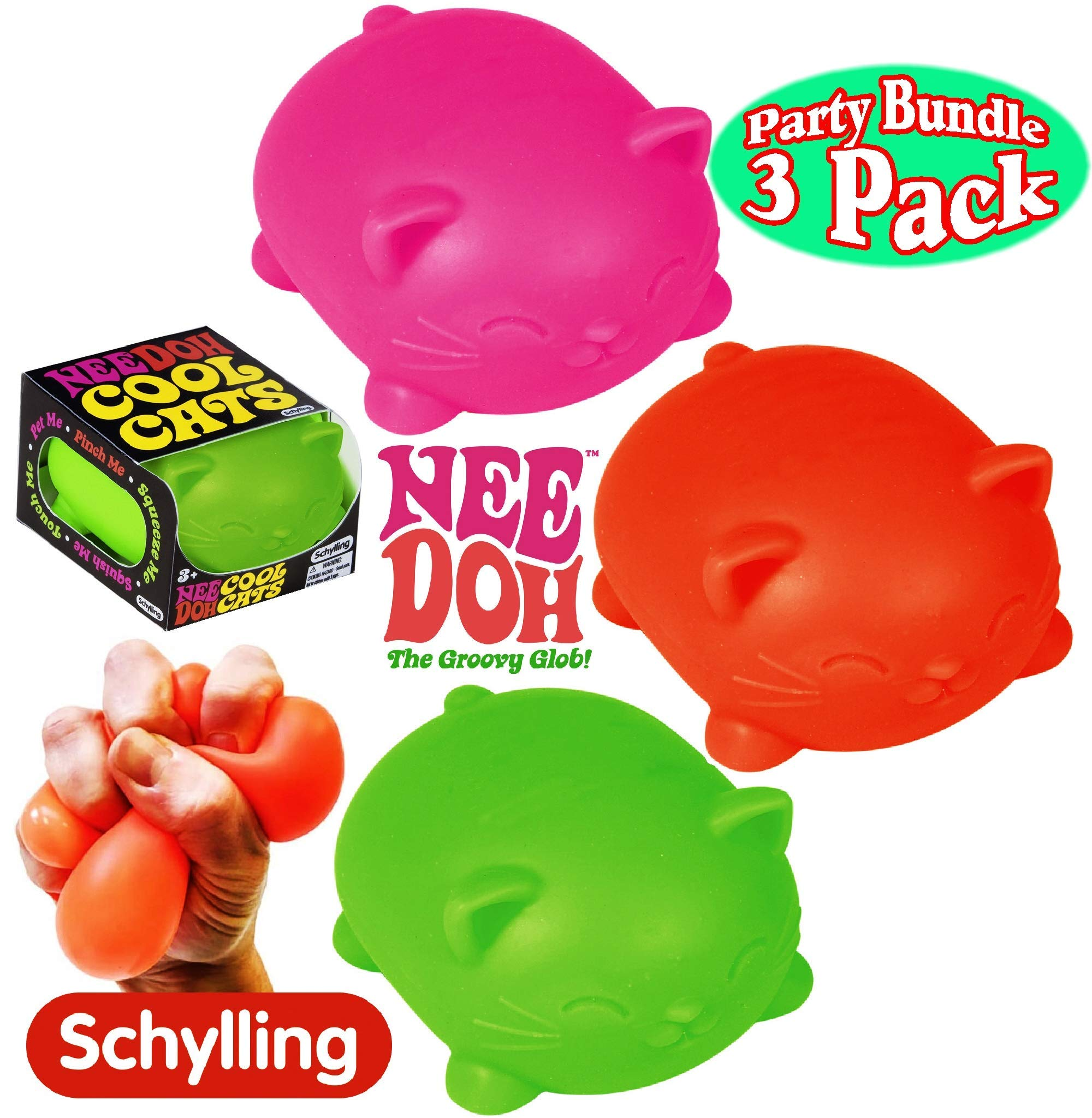 Schylling NeeDoh Cool Cats The Groovy Glob! Squishy, Squeezy, Stretchy Stress Balls Green, Orange & Pink Complete Gift Set Party Bundle - 3 Pack