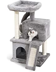 PAWZ Road Cat Tree Luxury Cat Towers with Double Condos,Spacious Perch, Fully Wrapped Scratching Sisal Post and Dangling Balls Gray
