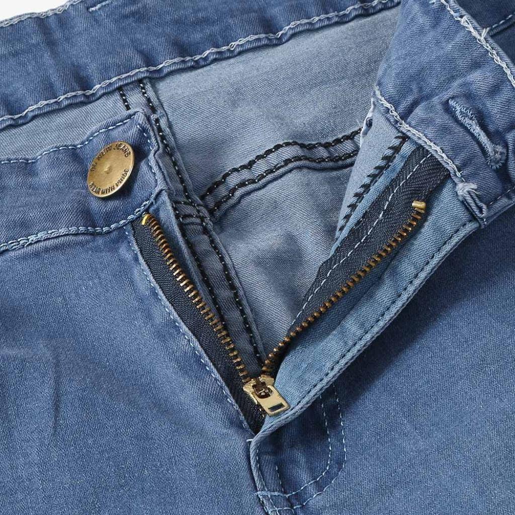 OverDose-Homme Jean Slim Homme avec Genoux D/échir/és,Overdose Mode Jeans Bleu Clair Stretch Denim Pantalons Skinny Trousers