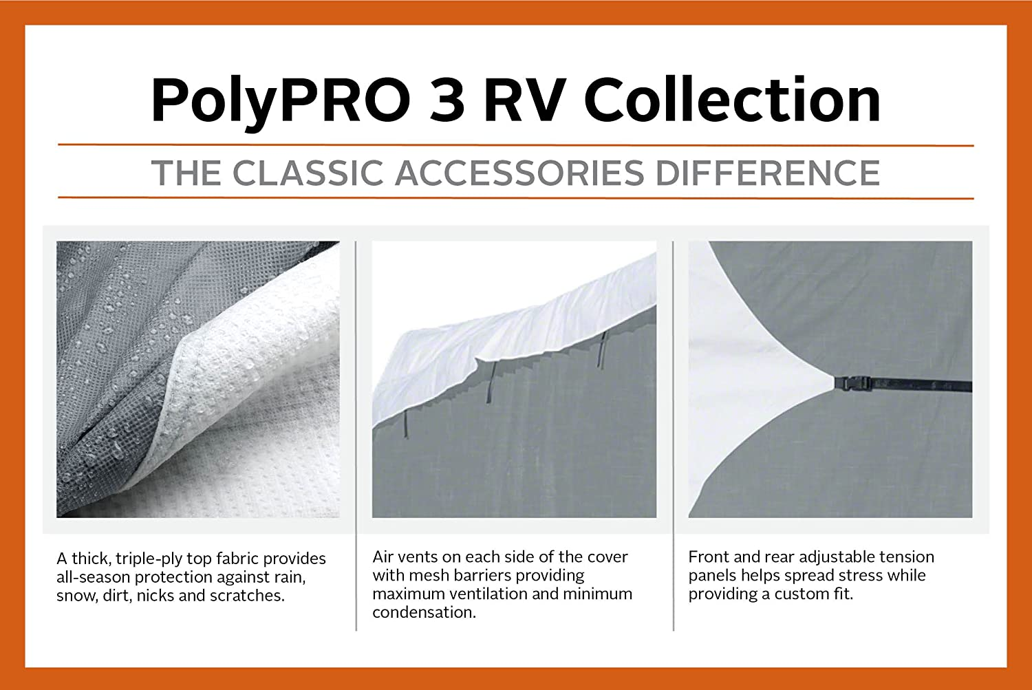 Fits 20-23 RVs Classic Accessories OverDrive PolyPro 3 Deluxe Class C RV Cover