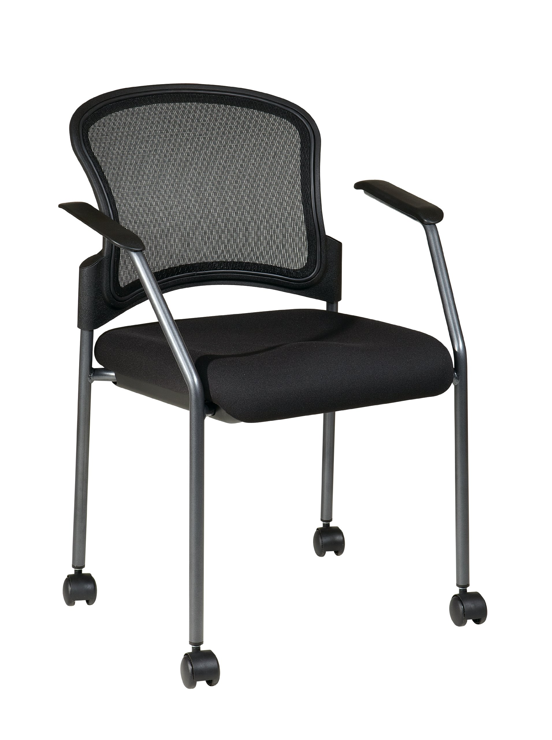 Office Star Breathable ProGrid Back and Padded Coal FreeFlex Seat, Fixed Arms, Titanium Finish Stacking Visitors Chair with Casters, Black