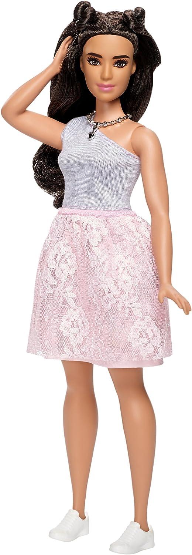 Amazon.es: Barbie Fashionista, muñeca con vestido gris y rosa ...