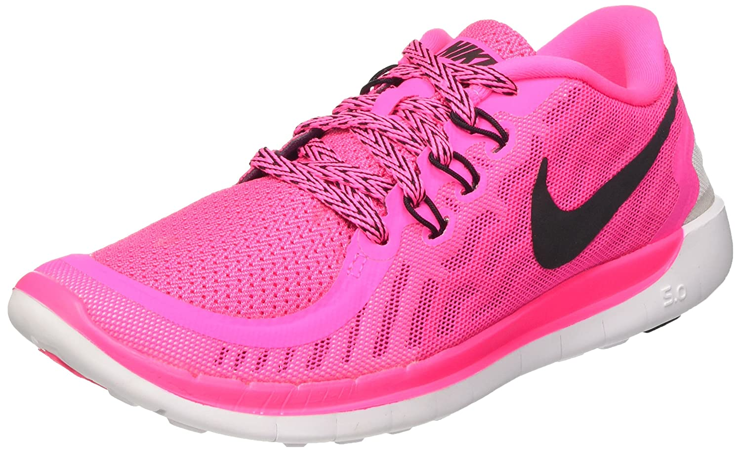 e9f14eb3410a Nike Kids  Free 5.0 (gs) Running Shoes Pow Black-Vivid Pink-Wht 600 ...