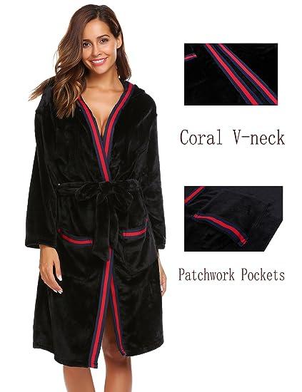 679e4ab43f Dickin Women Hooded Long Sleeve Patchwork Winter Warm Sleepwear Robe with  Belt