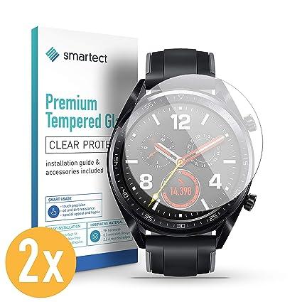 smartect Protector de Pantalla para Huawei Watch GT [2 Unidades] - 9H Cristal Templado - Diseño Ultrafino - Instalación Sin Burbujas - Tempered Glass ...