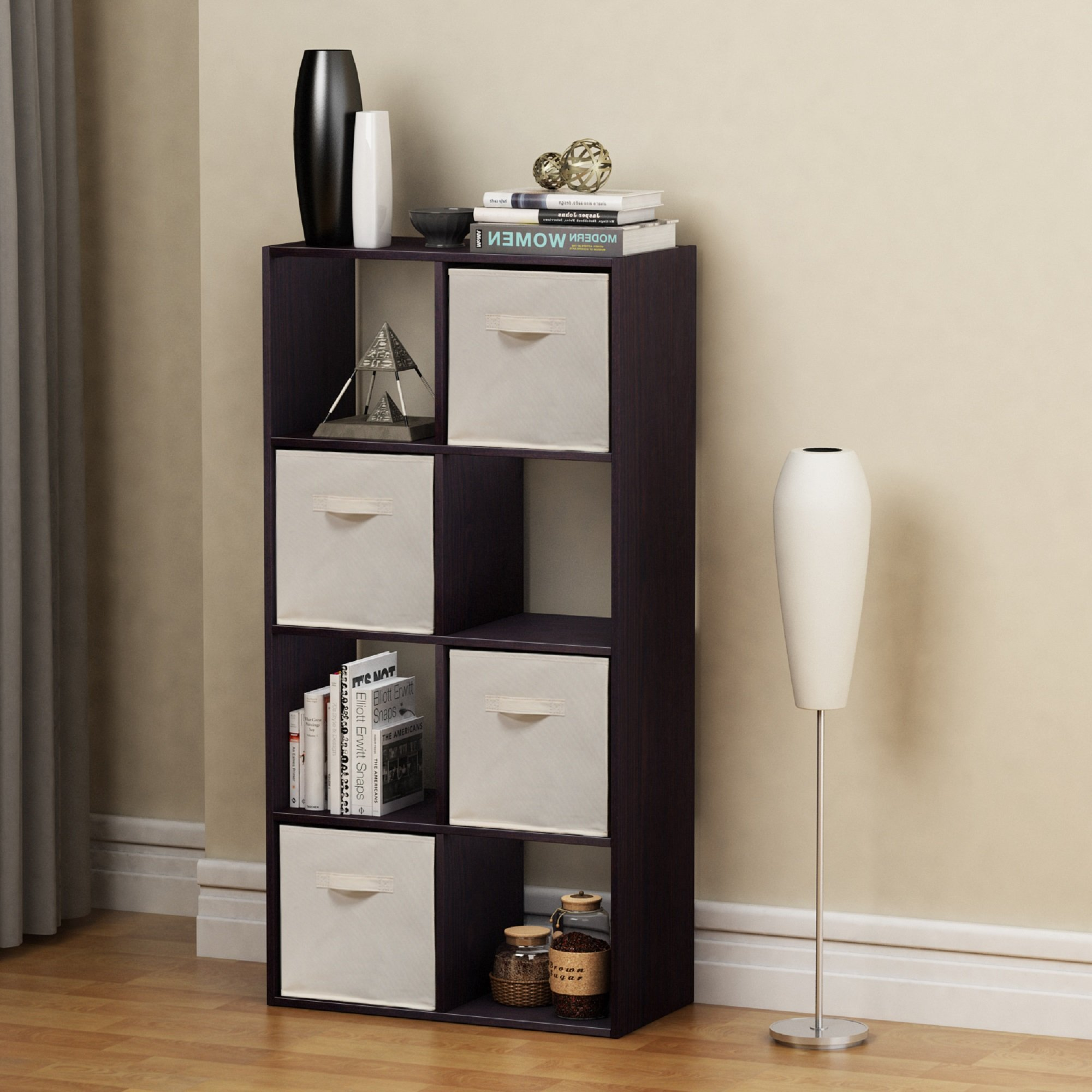 Homestar 8 Cube with Fabric Bins, Black Brown