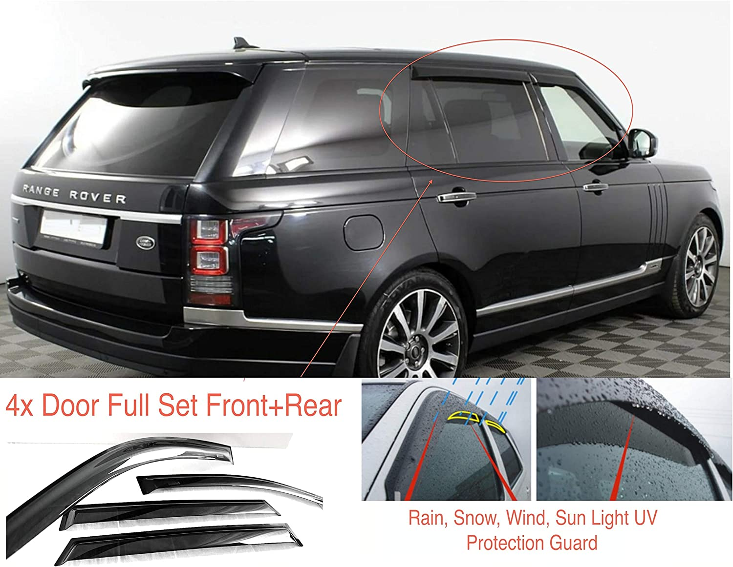 Ac Wow 4 Wind Deflectors Compatible With Range Rover L405 5 Door 2012 2013 2014 2015 2016 2017 2018 2019 2020 And New Acrylic Weather Protection Visors Auto