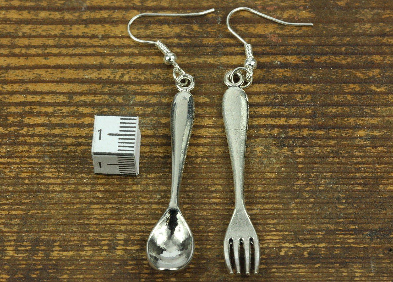 1d40bf9909da Cuchara y tenedor Cubiertos pendientes percha Miniblings cocción de  alimentos 55mm cocina de plata  Amazon.es  Joyería