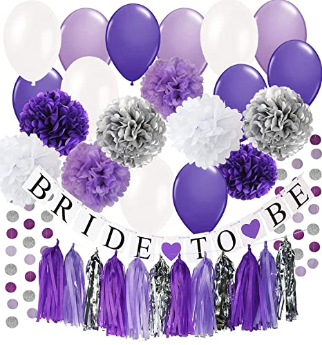 Amazon Qians Party Bridal Shower Decorations Purple White