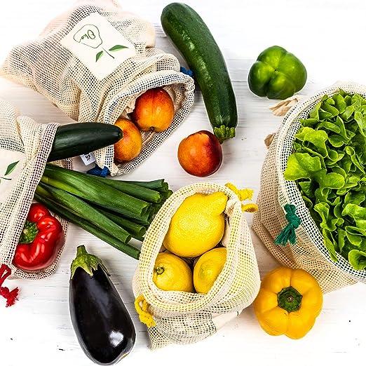 4 Bolsas reutilizables para frutas y verduras | Bolsas de algodón en 4 tamaños + calendario de cosecha | Bolsa de malla Bolsa de compras: 100% ecológico y sostenible: Amazon.es: Hogar