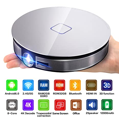 CANGSIKI D8S LED Android 6 0 Smart Projector,True 3D Home Theater Protable  Video Projector Support 4K 1080P Video Play Octa-core RK3368 CPU with
