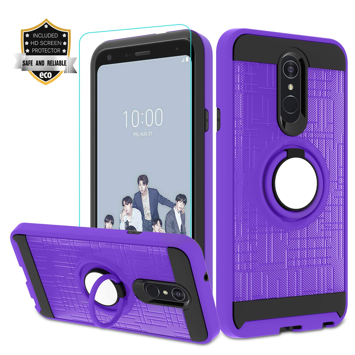 Funda + Vidrio Para Lg Q7 Case, Lg Q7 Plus Purpura