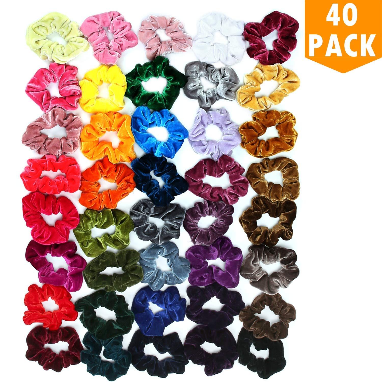 Satin Scrunchies for Hair 40 Colors EAONE Glossy Hair Scrunchies Elastic Hair