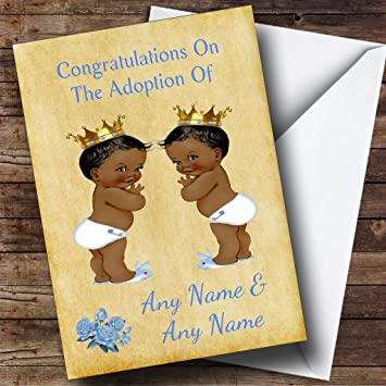 Amazon adoption vintage congratulations adopting twin boys adoption vintage congratulations adopting twin boys black personalized greetings card m4hsunfo