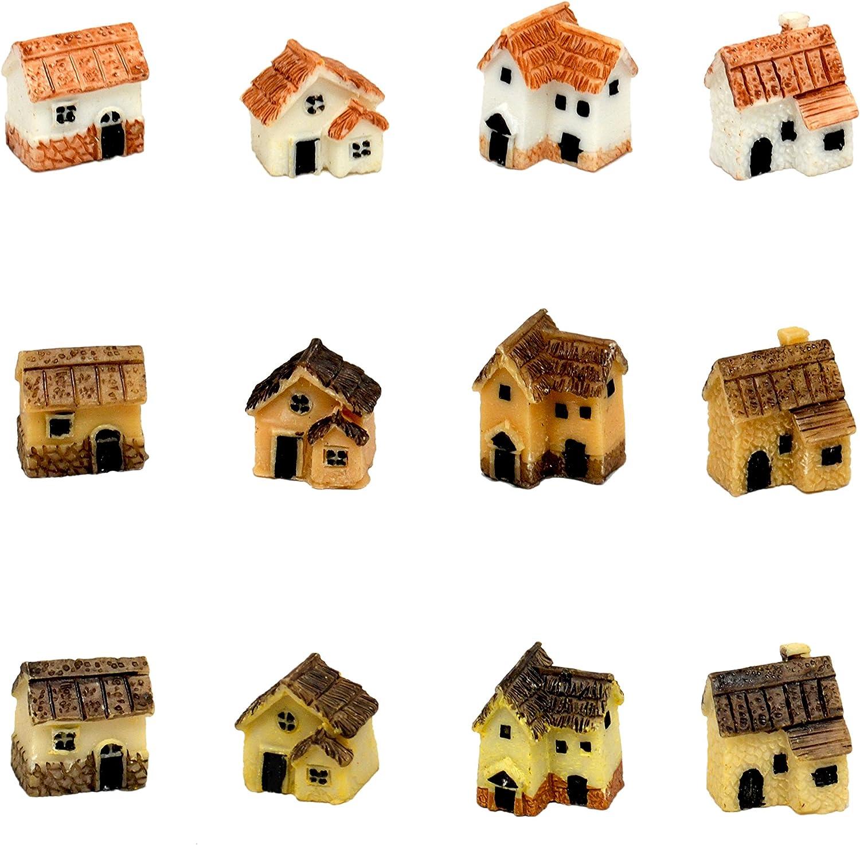 Pixie Glare Fairy Garden Miniature Micro Village Stone Houses White 4 Pack