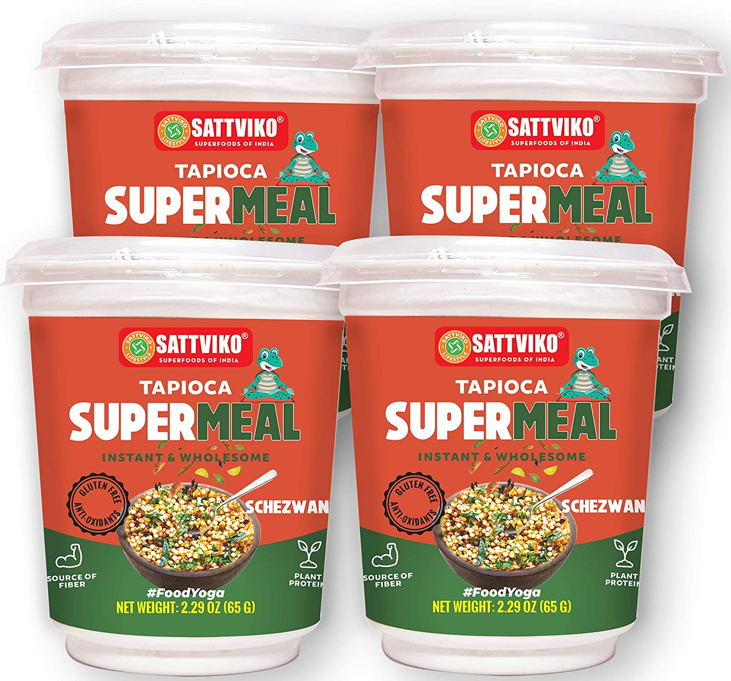 Sattviko Instant Tapioca (Sabudana) Supermeal - Indian Food Ready to eat meal | Ready to eat meal | Vegetarian Food | Vegan Meals | Plant based food | Instant Meals | Foodyoga- Flavor Schezwan, 4 Cups